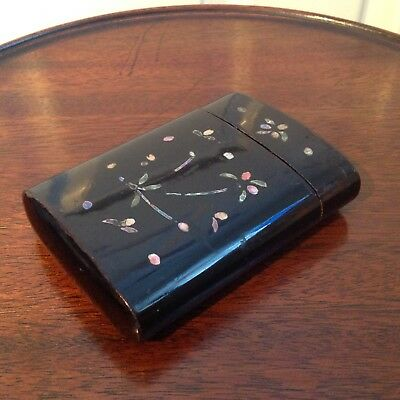 Victorian Lacquered Wooden Pocket Cigar Case Mother Of Pearl Inlay