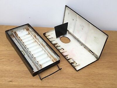 Vintage C.1930 Metal Artists Watercolour Box & Folding Palette. Winsor & Newton?