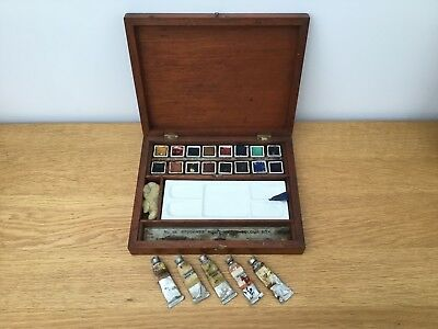 Antique C.1930's Reeves Artists Wooden Watercolour Box 16 Half Pans & Tubes