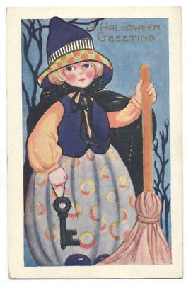 Whitney HALLOWEEN GREETINGS - YOUNG WITCH Odd Outfit & Black Key ca1920