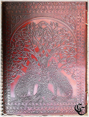 """Blank Journal WOLVES TREE OF LIFE 11""""x14"""" Wiccan Spells Pagan Book of Shadows"""