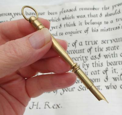 """Small Vintage Trench Art Style 3.5"""" / 9cm BRASS DIP PEN Travelling Hanging Ring"""