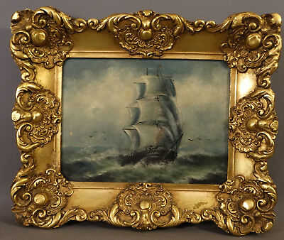 Antique CLIPPER SHIP on SEA Old MARITIME Nautical SEASCAPE PAINTING Gesso FRAME