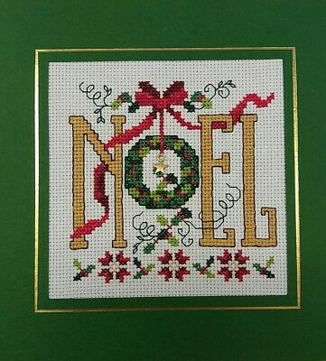 "Completed Cross Stitch Christmas Card Noel  (7.1/2"" 7.1/2"")"