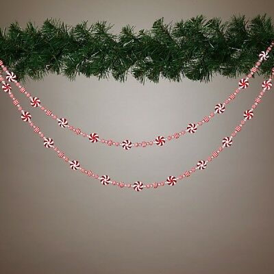 Peppermint Candy Christmas Garland String 72 Inch Holiday Decoration New