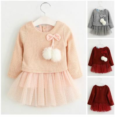 Princess Baby Girls Dress Tutu Skirt Bow Autumn Long Sleeve Party Kids Clothes
