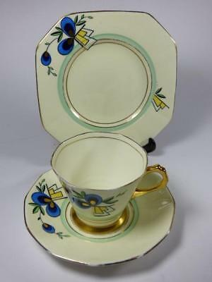 Superb ART DECO Tuscan China Hexagonal BLUE/GOLD TEA TRIO,3060A,1930s