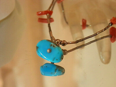 Beautiful Liquid Silver Vintage 70's Red Coral Turquoise Pretty Necklace 126jl7