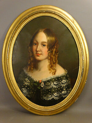 1840 Antique 19thC American EMPIRE Era LADY w/ RING CURLS Hair PORTRAIT PAINTING