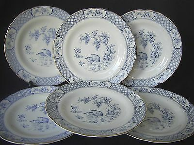 Royal Tuscan China Vintage Set 6 X Tea Plates - Blue & White Pattern C8934