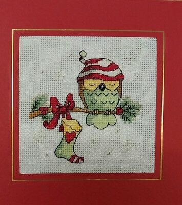 "Completed  Cross Stitch Christmas Card  owl (7.1/2"" x 7.1/2"")"