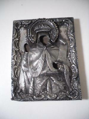 An Antique Russian Silver Icon Frame w. Elaborate Figure : St Petersburg c1845