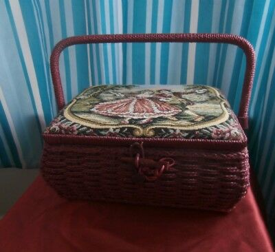 sewing basket with handle and plastic insert