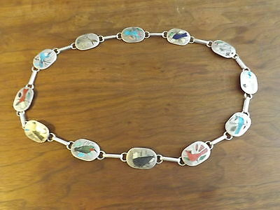 H.R. Coonsis Zuni Sterling Silver Bird Inlay Belt Individually Named Birds