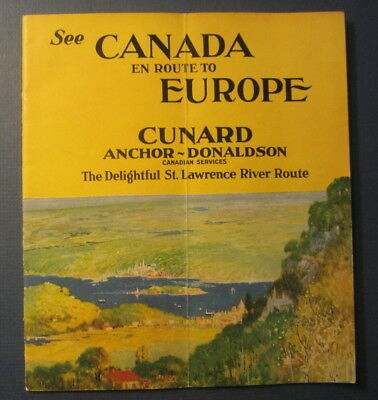1920's CUNARD Anchor-Donaldson CANADA to EUROPE St Lawrence River Route Booklet