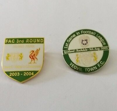 2 x  YEOVIL TOWN Badges ~ 2003 v ROCHDALE (1st League Game ) & 2003/04 LIVERPOOL