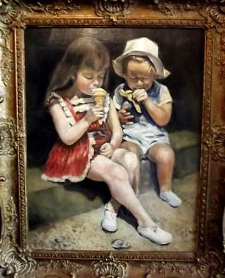 Charming BRITISH MODERNIST 1960's Oil Painting- The Seaside Ice Cream- By KING