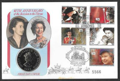 1992 40th Anniv. of Accession First Day Coin Cover with Westminster Abbey Pmk