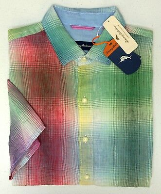 NWT $110 Tommy Bahama Linen Red Pink Blue Green Yellow Plaid Short Sl Shirt Mens