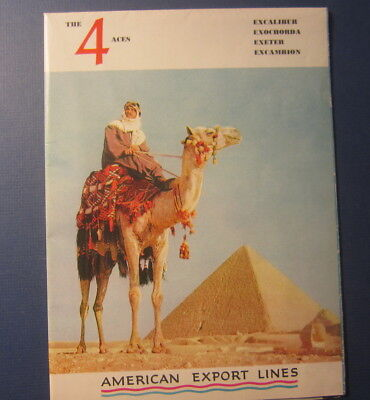 Old 1953 - The 4 ACES - American Export Lines STEAMSHIP - Brochure / DECK PLANS