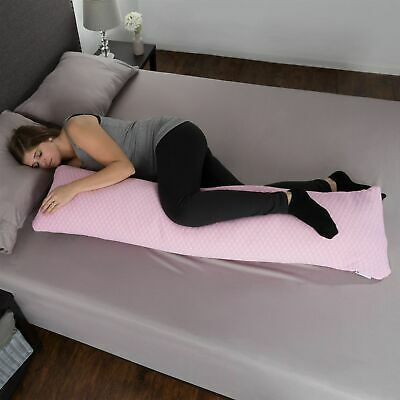 Pink Memory Foam Body Pillow Side Sleepers Aching Legs Knees Zippered Cover