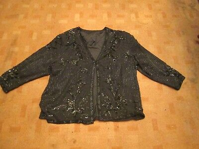Vintage 80s Silk evening jacket/beads/sequins/party/special occasion sz 22-24