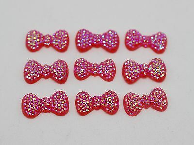 200 Red Bowknot Bows Flatback Dotted Rhinestone Gems 13X7mm Flat back Cabochon