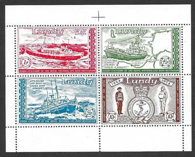 Lundy 1974 R.N.L.I. Miniature Sheet (MNH)