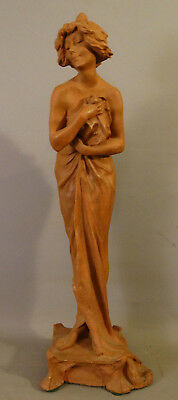 Antique ART NOUVEAU Signed TERRACOTTA POTTERY Style LADY & GOWN Sculpture STATUE