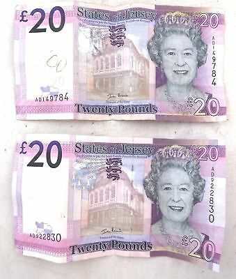 2 x States of JERSEY £20 BANKNOTES Currency AD1 & AD9 Serial Numbers - C80
