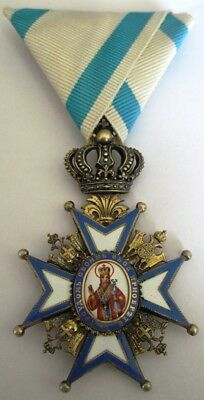 Serbia Serbian Royal EARLY St. Sava Order 4th class MONOGRAM , Marked GAS emi.!!