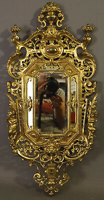 Antique FRENCH Figural GILT BRASS WINGED PUTTI Statue LION BUST BOUDOIR MIRROR