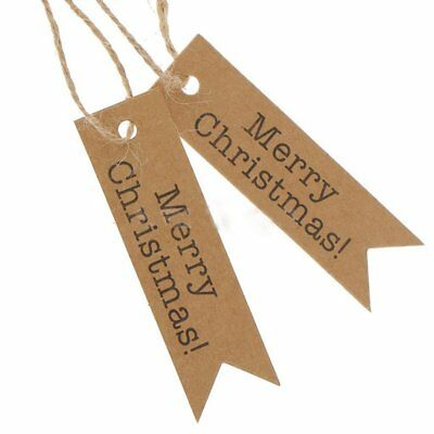 100pcs Letters Merry Christmas Kraft Paper Hang Tags Label Xmas Gift Card String
