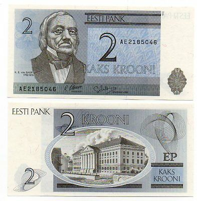 ESTONIA    -   great UNC   note  2  krooni   -   LAST ONE !