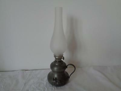 Retro Oil Lamp Pewter Etain Paraffin Glass Flue French Decorative Duck