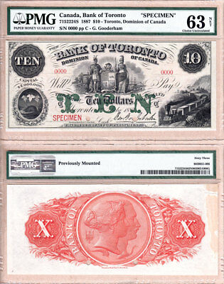 NO RESERVE AUCTION: 1887 $10 Bank of Toronto (TD Bank) Specimen. PMG CH UNC63