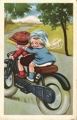 Motorcycle children comic artist postcard 1930's