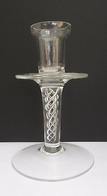 """Antique Vintage Glass Candlestick With Spiral Air Twist In Stem ~ 6"""" Tall"""