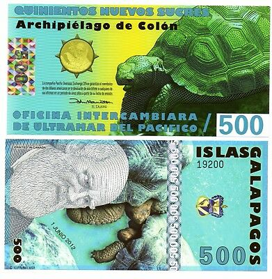 GALAPOGOS ISLE   -   great  UNC  note  500  colons   -  POLYMER