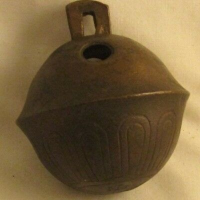 Antique Solid Brass Petal Sleigh Bell, Number 13 Christmas Lovely Patina