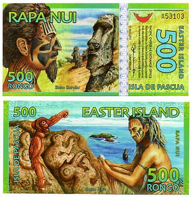 EASTER ISLE   -   great  UNC  note  500  rongos   -  POLYMER