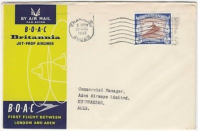 BOAC 1957 BRITANNIA JET-PROP airliner *KHARTOUM-ADEN* official illustrated FFC