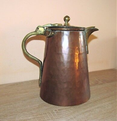 Antique Arts and Crafts copper and brass water / coffee lidded jug