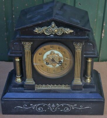 Large Heavy Black Slate French Marti Mantel Clock With Fine Metal Fittings