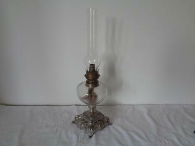 Retro Oil Lamp Vintage Brass Paraffin Clear Honeycomb Glass Reservoir French