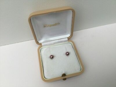 Majorica Pearl Stud Earrings, C1960s Gold Plated on 925 Sterling Silver.