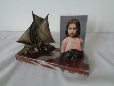 French Art Deco Bronze Sailing Ship on Marble Base with Photo Frame Authentic