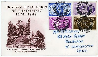 GB 1949 UPU Very Scarce illustration FDC to Warrington