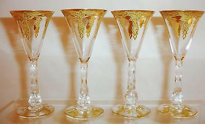 Six Antique French Gilt Cut Trumpet Stems Unknown Maker