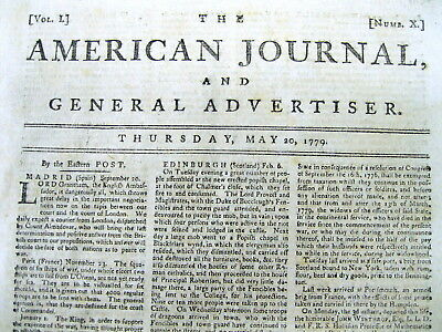 1779 Revolutionary War newspaper GEO WASHINGTON Van Schaick & FT STANWIX Indians